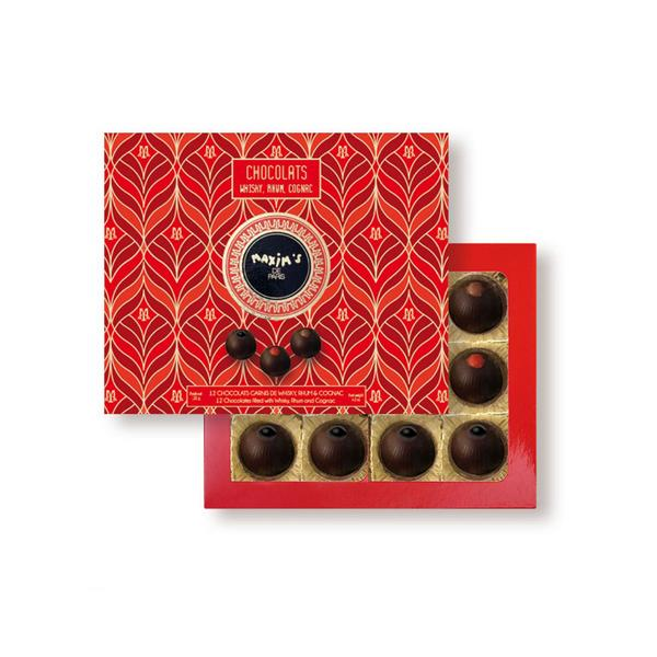 MAX 8907 - CARDBOX  WITH 12 CHOCOLATES WHISKY, RUM, COGNAC